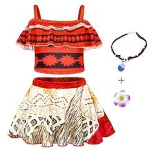 AmzBarley Girls Moana Swimwear For Children Beach Swimming Wear Kids One Shoulder Two Piece Sling Ruffle Costume Clothing