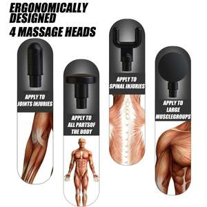 Image 2 - Arma de massagem muscular 20 velocidades percussão vibração terapia profunda tecido massageador relaxar alívio da dor fáscia massagem máquina 4 cabeças