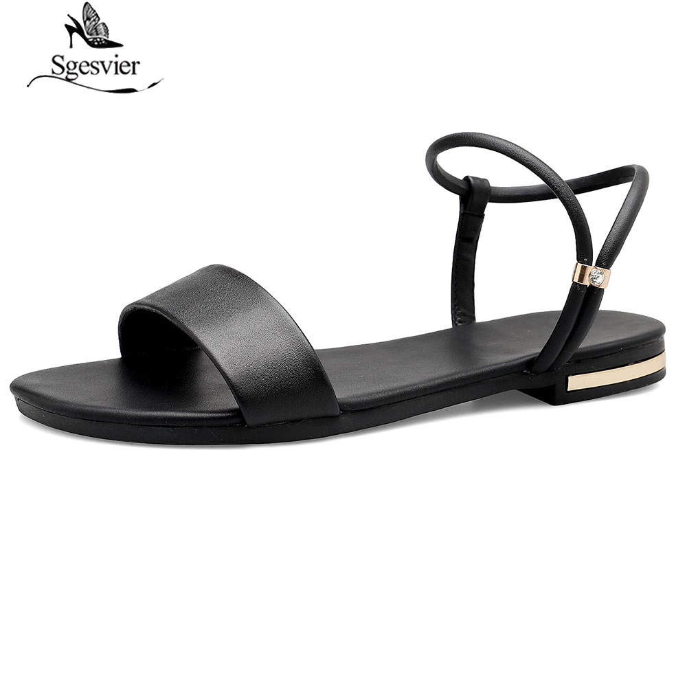 Sgesvier 2019 new genuine leather women sandals big size 31 46 solid fashion comfortable peep toe flat casual shoes woman G397 in Low Heels from Shoes