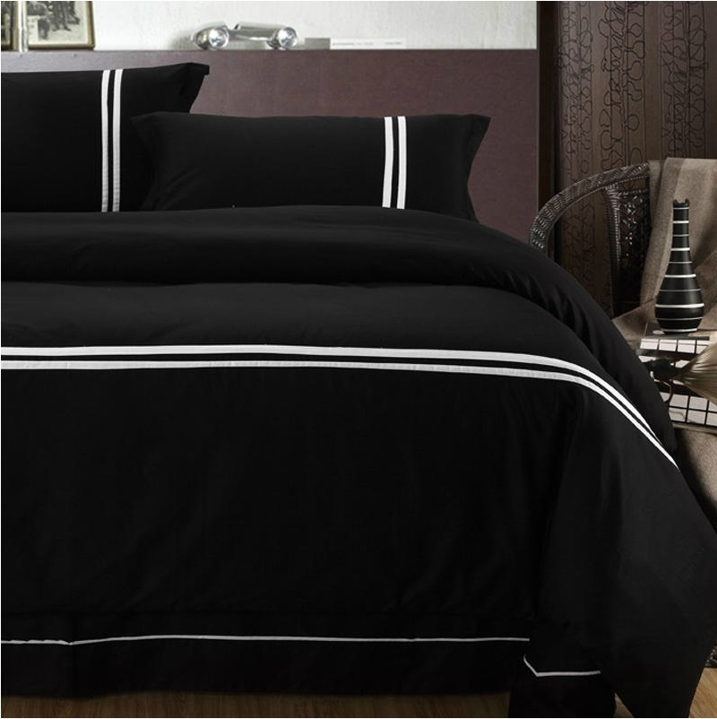 European style solid black 100 cotton bedding sets 4pcs 1 duvet cover 1 flat sheet 2