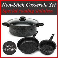4Pcs/Set Non stick Frying Pan Casserole Medical Stone Coating Chef's Pans With Heat Resistant Handle For Gas & Incuction Cooker