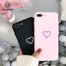 Lovebay милый чехол для телефона для iPhone 11 Pro 6 6s 7 8 Plus X XR XS Max милый мультфильм простое любовное сердечко Мягкий ТПУ задний чехол s