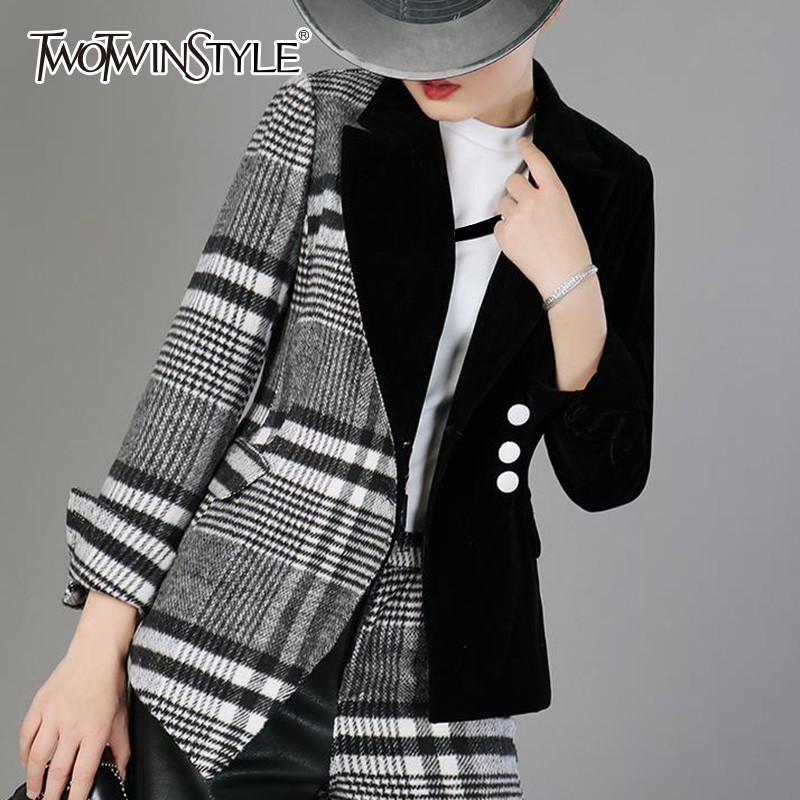 TWOTWINSTYLE Velour Patchwork Wool Plaid Blazer Coat Female Long Sleeve Asymmetrical Women s Suits 2019 Spring