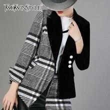 TWOTWINSTYLE welurowa wełna patchworkowa Plaid Blazer Coat kobieta z długim rękawem asymetryczne damskie garnitury 2019 wiosna modne ciuchy