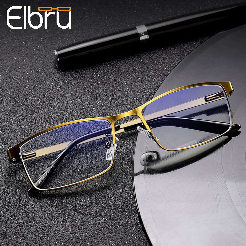 Elbru Men Blue Film Resin Reading Glasses Women Metal Half Frame Hyperopia Eyeglasses 1.5 2.0 2.5 3.0 3.5 4.0 Diopter For Male