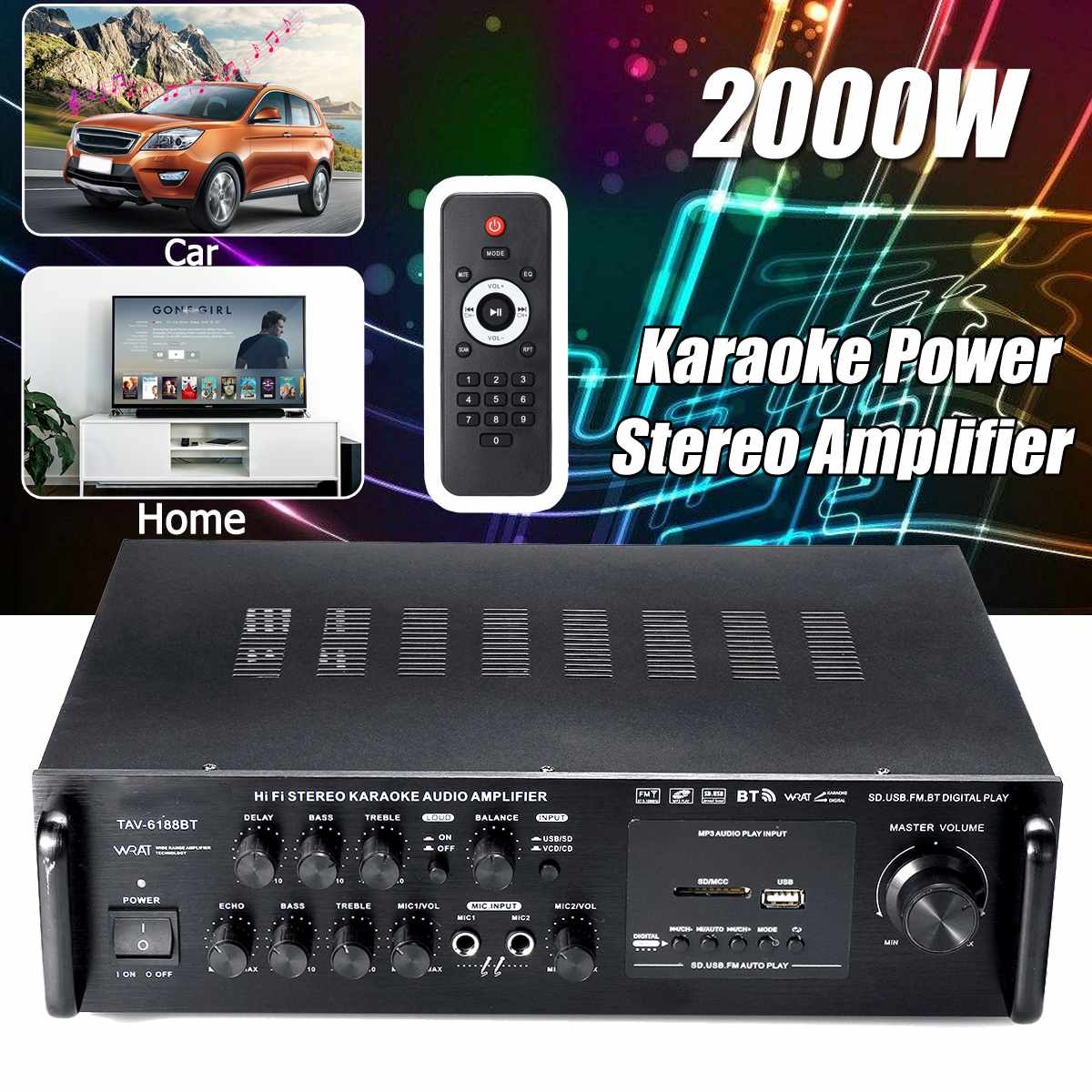 2000W 220V Car Amplifier Audio Power Amplifier bluetooth Stereo Home Theater Amplifier USB SD FM BT Player with Remote Control