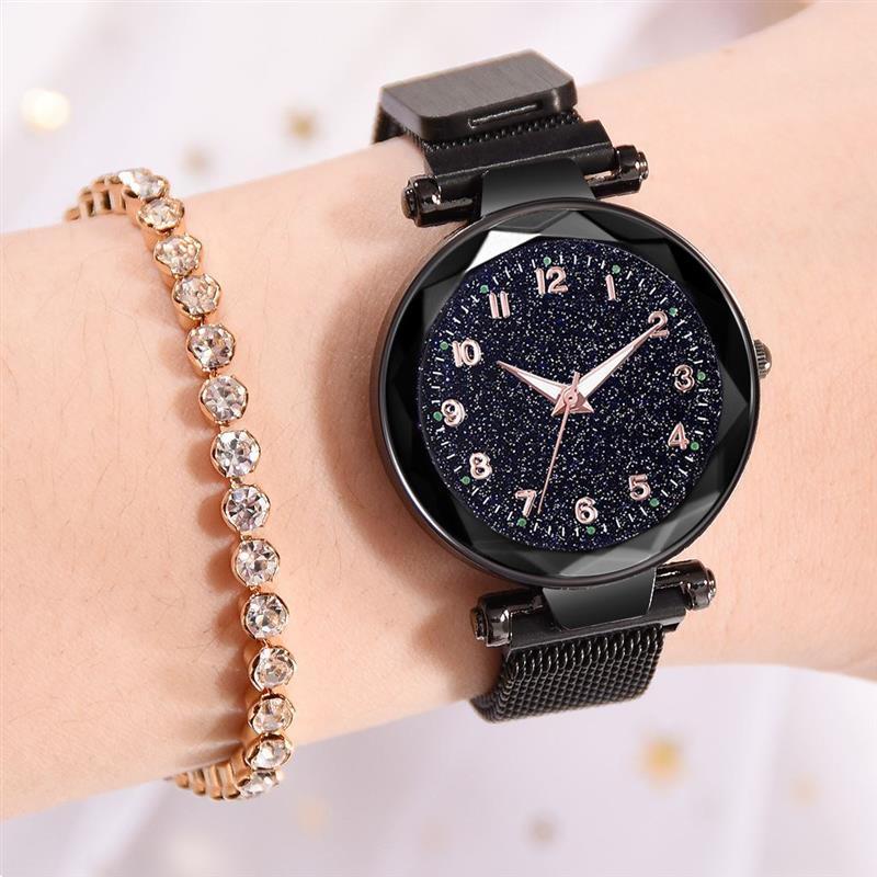 Fashion Starry Sky Watch For Women Magnetic Buckle Mesh Band Stainless Steel Analog Quartz Wristwatch 2019 New Gold WatchesFashion Starry Sky Watch For Women Magnetic Buckle Mesh Band Stainless Steel Analog Quartz Wristwatch 2019 New Gold Watches