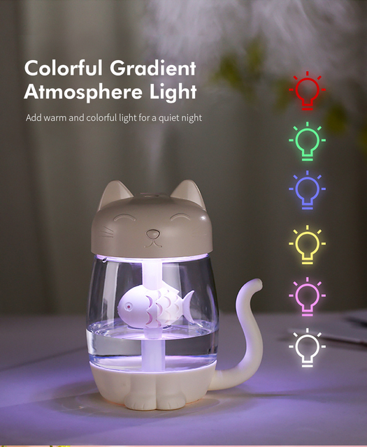Cute Cat Air Humidifier Ultrasonic 3 In 1 Fan Aroma Essential Oil Diffuser Purifier Atomizer USB Charging LED light For Home 3