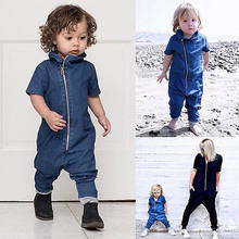 2018New Spring And Autumn Clothing Mens And Womens Conjoined Trousers Childrens Jeans Zippers Casual Wear Babys(China)