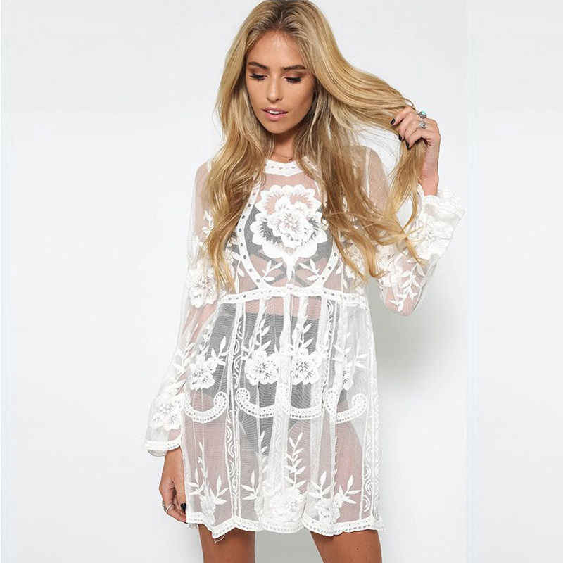 9dbd571bf2 2019 Newest Style Sexy Ladies Women Lace Beach Cover-Ups Dress Swimwear Swimsuit  White Black