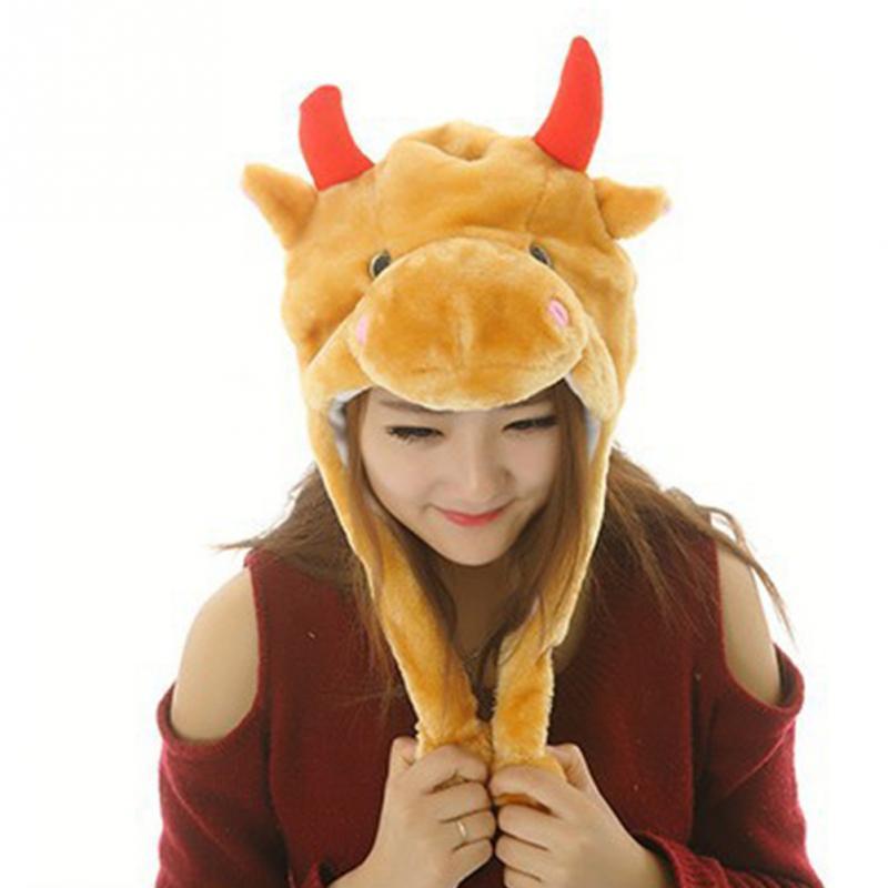 Cute Cartoon Animal Plush Hat Winter Warm Women Men Adult Children Kids Faux Fur Hat   Beanie   Costume Cap Hedging Cap #2
