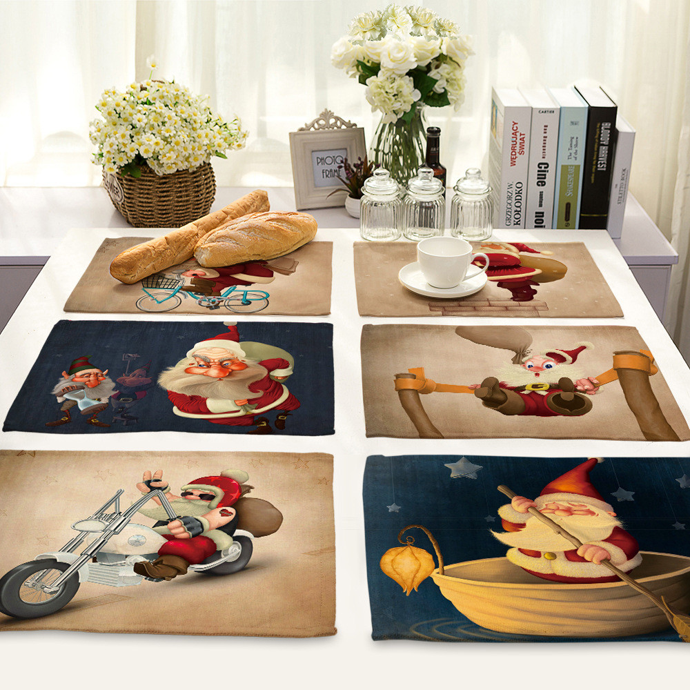 Kitchen Table Decorations For Christmas: Linen Christmas Table Mat For Dining Table Santa Claus