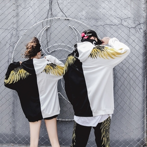 Image 2 - 2018hip hop gold thread embroidery wings more add wool fleece single men and women lovers sets loose BF hoodie jacket