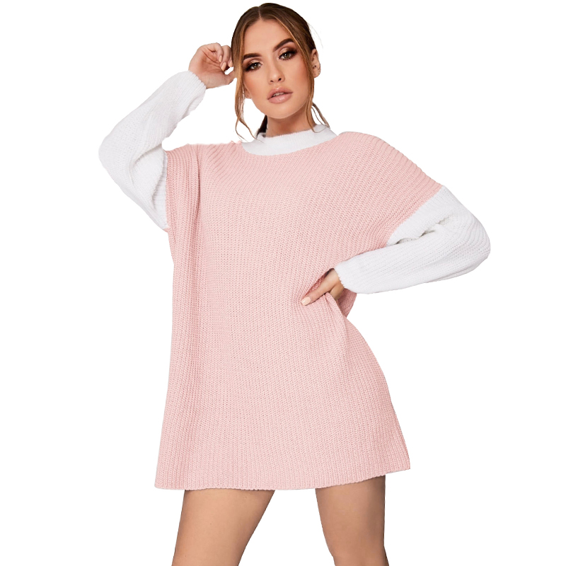 b73279b494d US $10.41 41% OFF|Fashion Women Knitted Dress Turtleneck Contrast Color  Long Sleeve Casual Loose Mini Knit Sweater Dress Kawaii Knitwear  Grey/Pink-in ...