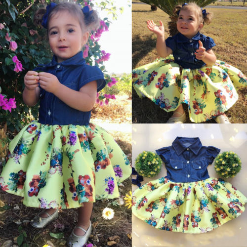 2019 Infant Girl Denim Dress Newborn Kids Baby Girls Denim Flower Cartoon  Pageant Party Gown Dress 75b51a4a076f