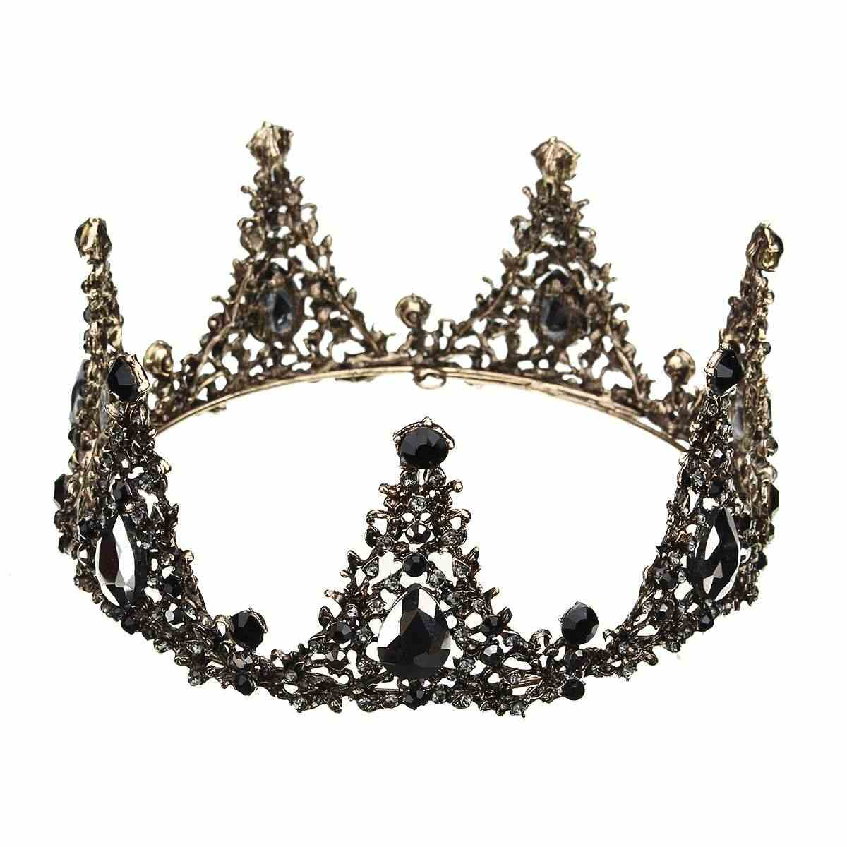 Baroque Full Round Tiara Black Rhinestone Crystal Crowns Vintage Queen  Pageant Bridal Wedding Hair Jewelry Accessories 82e0afd49ab6