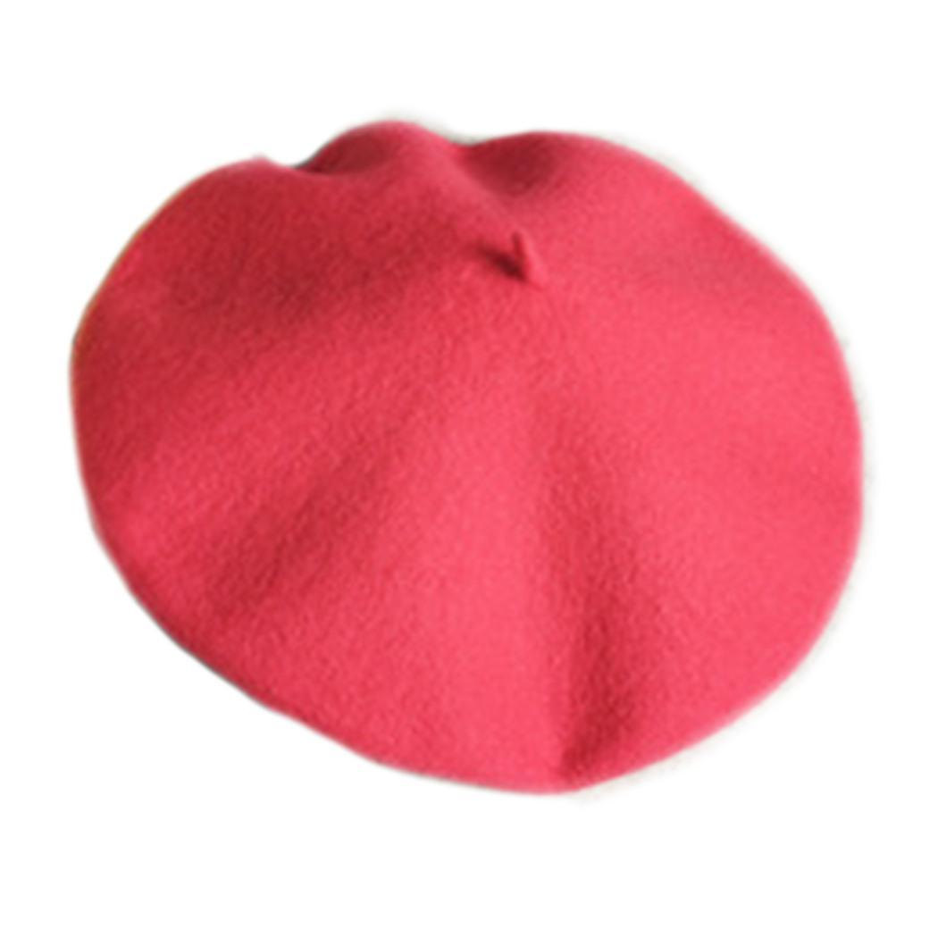 Women Winter Warm Classic Solid Wool Beret Hat Cap Casual Street Outdoor About 28 5cm 11 22inch Round Top Button