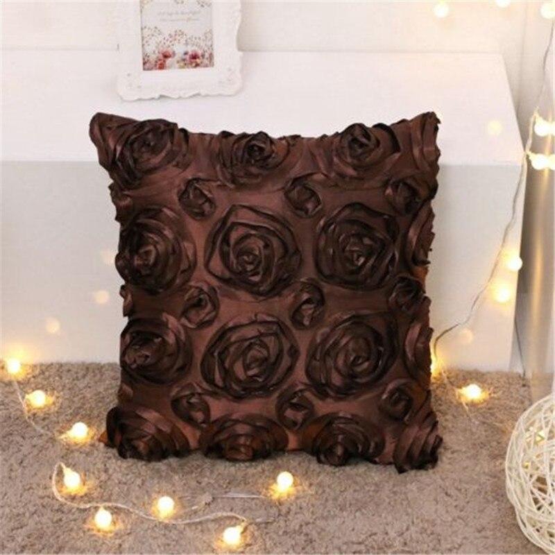 3D Floral Flower Pillow Case Cover Home Decorative  Bedding Waist  Pillowcase 5 Color For Choice