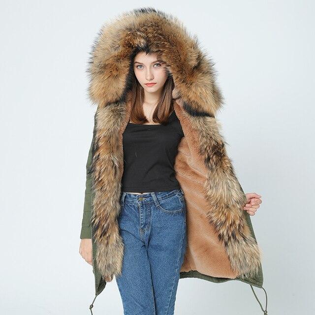 معطف شتوي جديد للسيدات من OFTBUY موضة 2020 معطف طويل من الفرو الطبيعي ياقة كبيرة من الفرو الراكون سترات بغطاء للرأس ملابس خارجية سميكة