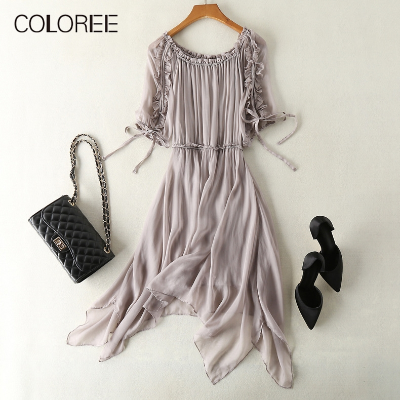High Grade Midi Dress 2019 Summer Ruffles Bow Lace-up Elegant Dress 100% Pure Silk Casual Style Vacation Beach Dress Vestidos image