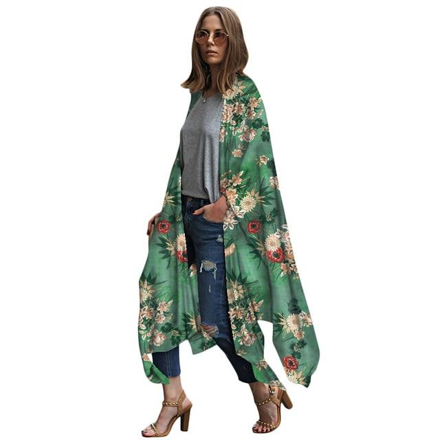 411d5375ea3 Women Chiffon Kimono Cardigan 2019 Summer Beach Boho Long Kimono Floral  Leopard Print Asymmetric Outerwear CoverUp Plus Size 5XL
