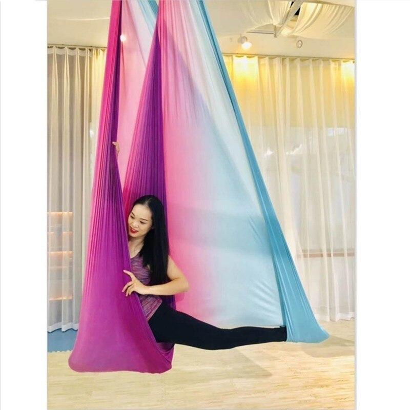 5 m x 2.8 m haute résistance coloré aérien Yoga balançoire hamac volant Yoga lit Anti-gravité Yoga ceintures pour faire de l'exercice Yoga Fitness