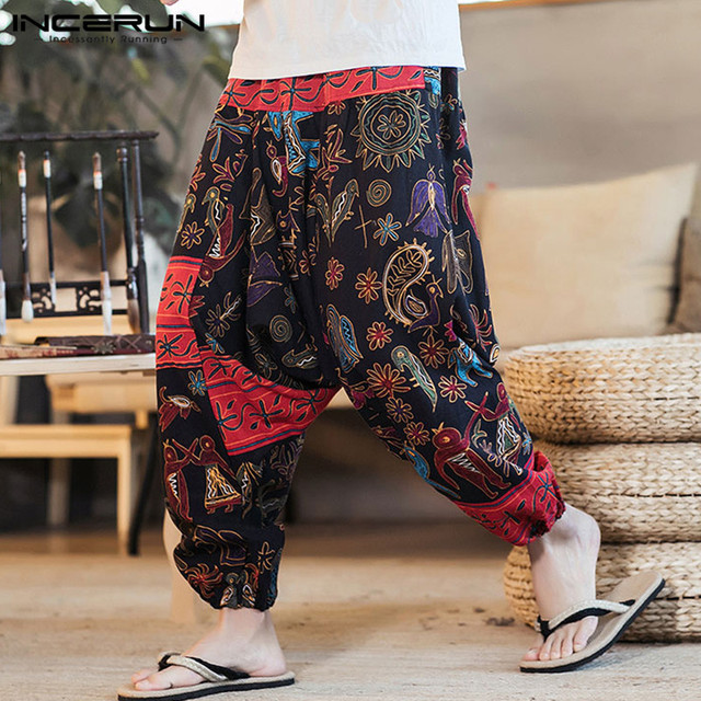 f788c2ef558b INCERUN 2019 Men Harem Pants Print Retro Drop Crotch Joggers Cotton  Trousers Men Baggy Loose Nepal