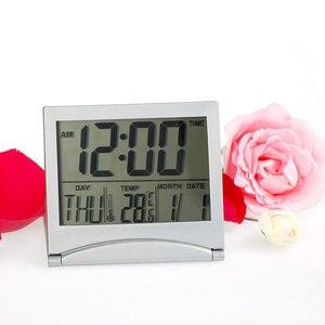 Image 3 - Mini składany LCD cyfrowy budzik zegar biurko stół stacja pogodowa biurko temperatura przenośny budzik podróżny