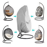 Swing Hanging Egg Chair Cover Wicker Stand Hammock Outdoor Patio Gray Black