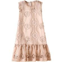 268c35f3715 2019 vestido de verano elegante bordado flores talla consejos Crochet  trapos Vestido Mujer sin mangas Oansatz