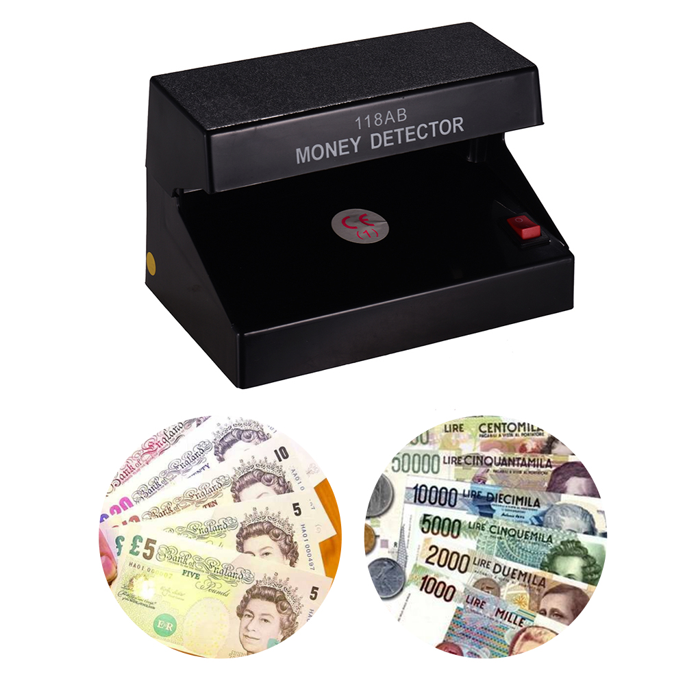Portable Desktop Multi-Currency Money Detector Counterfeit Cash Currency Banknote Checker Tester Single UV Light ON/OFF Switch