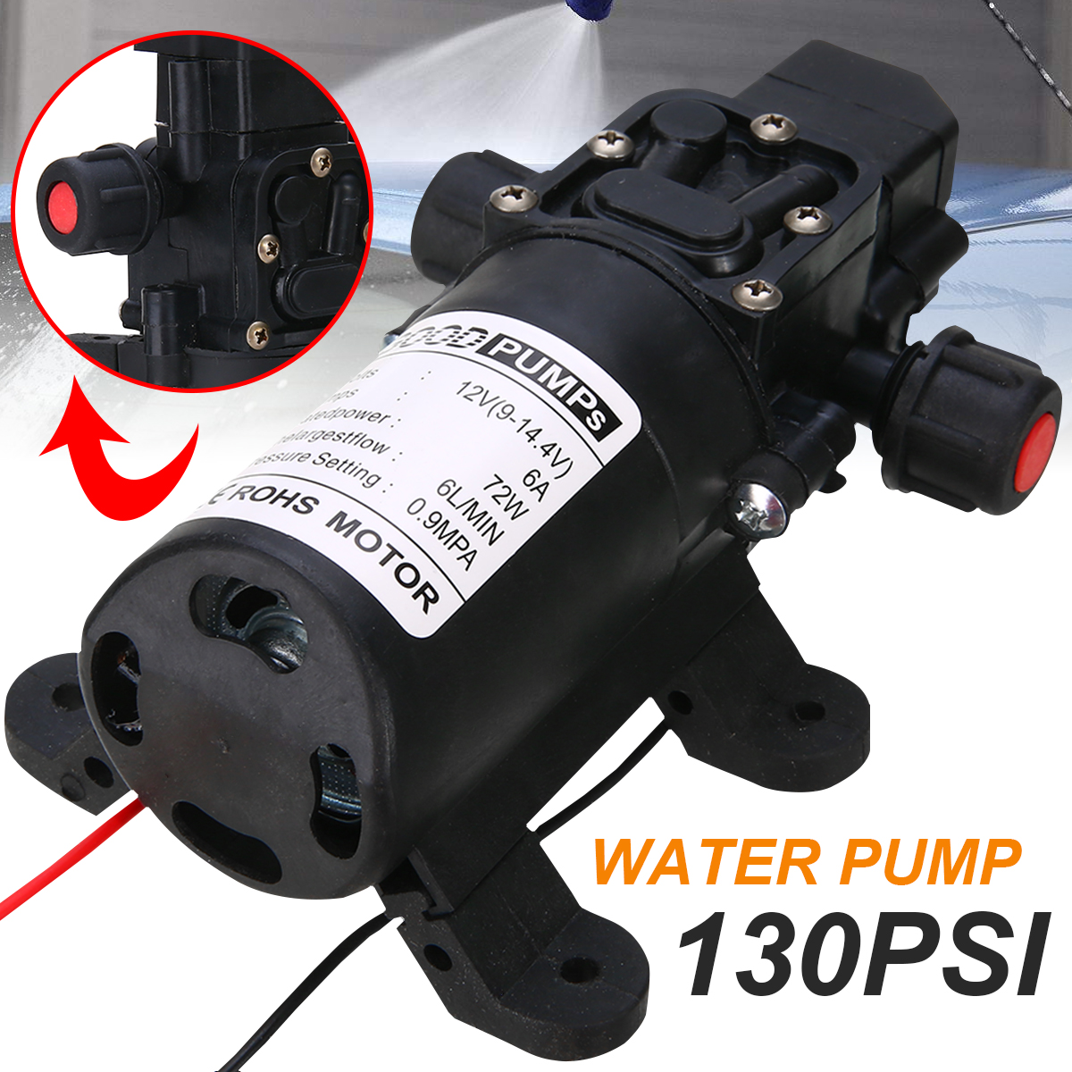 1Pc 6L/Min Small Diaphragm Water Pump 12V DC 70W 130PSI Self Priming High Pressure Water Pumps For Car Washing