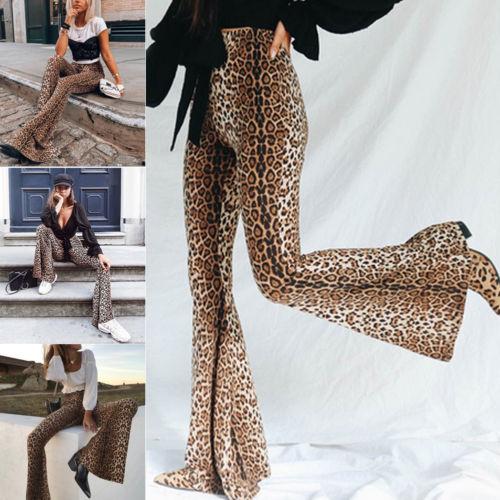 Hippie Design High Waist Women Leopard Pants Wide Leg Long Flare Bell Bottom Trouser Fashion Ladies Autumn Pants S M L USA