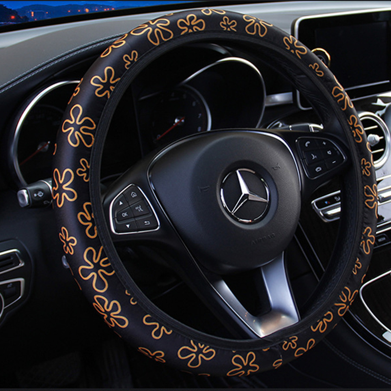 Car Interior Accessories Car Steering Wheel Covers Flowers Print Anti-Slip Steering Covers Car Styling Universal Wheel Cover