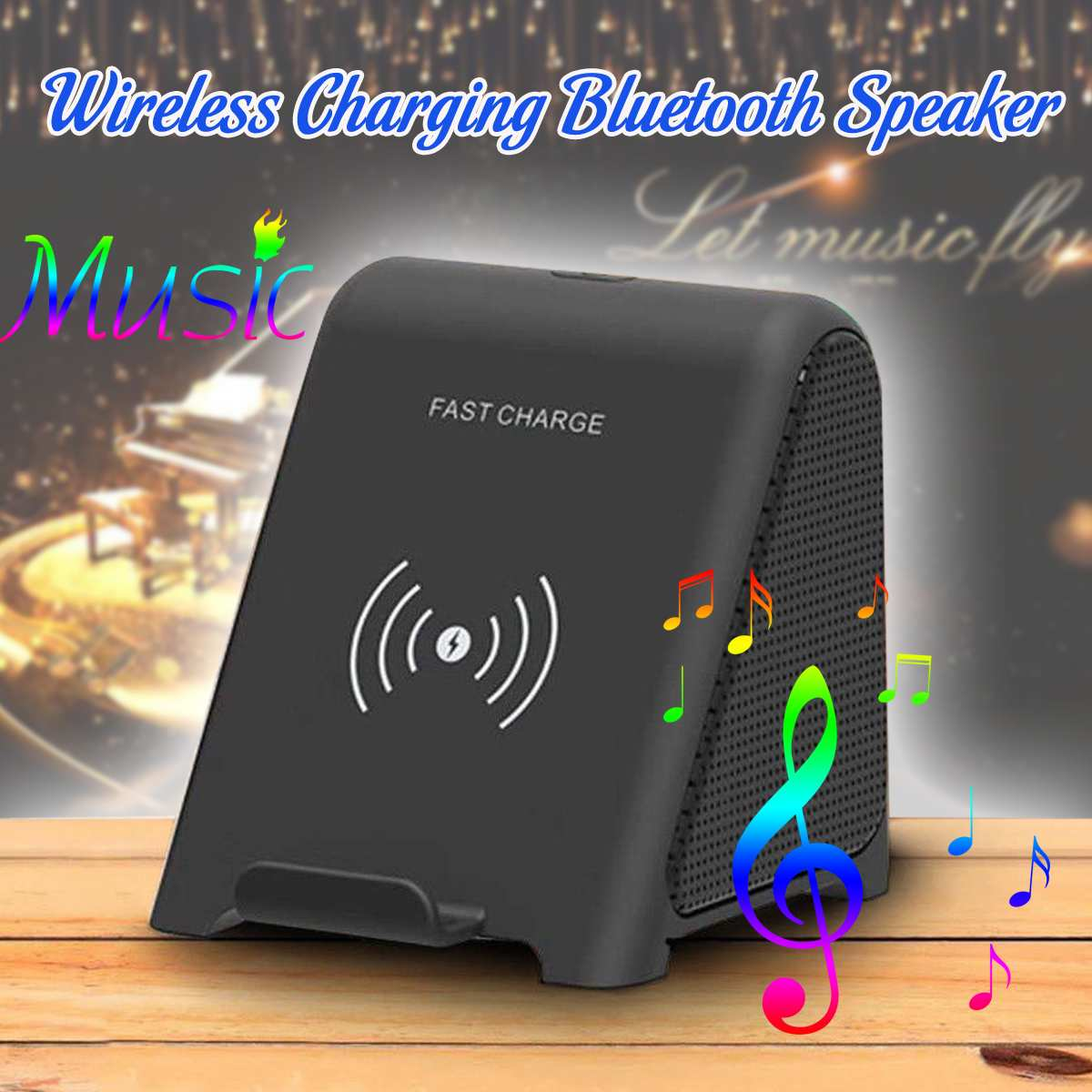 LEORY Qi Fast Wireless Charging Stand Charger With bluetooth Speaker For ALL Qi Phones Portable Audio & Video Speakers