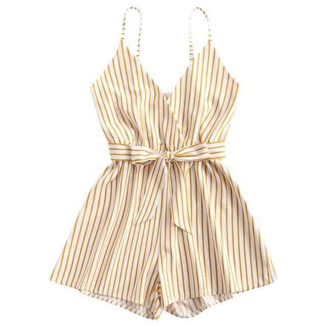 ZAFUL Striped Surplice Cami Romper Casual Brief Regular Striped Female Backless Playsuits Urban Shorts Summer Women Jumpsuits 1