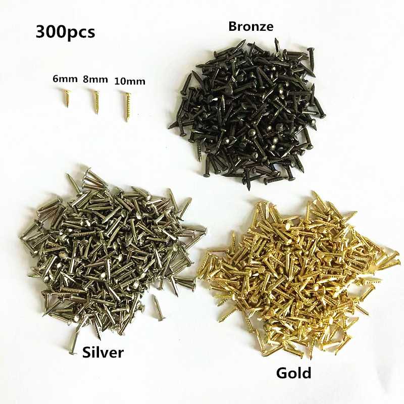300pcs 6mm 8mm 10mm Round Head Nail Furniture Fitting Decorative Screw Cusp Fasteners Hardware Gold Silver Bronz Mini model Nail