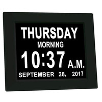 8 Inch Display Digital Calendar Day Clock for Vision Impaired Elder LCD Display Large Alarm Clock calendar clock 8 Languae #3