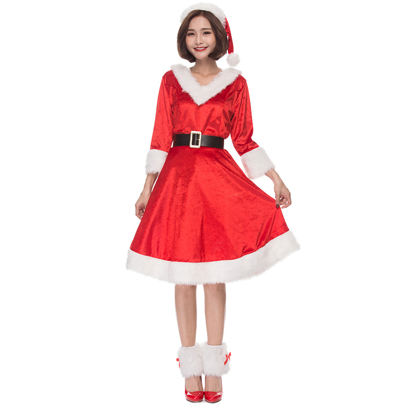 Ladies V-neck Long Sleeves Christmas Santa Claus Outfit