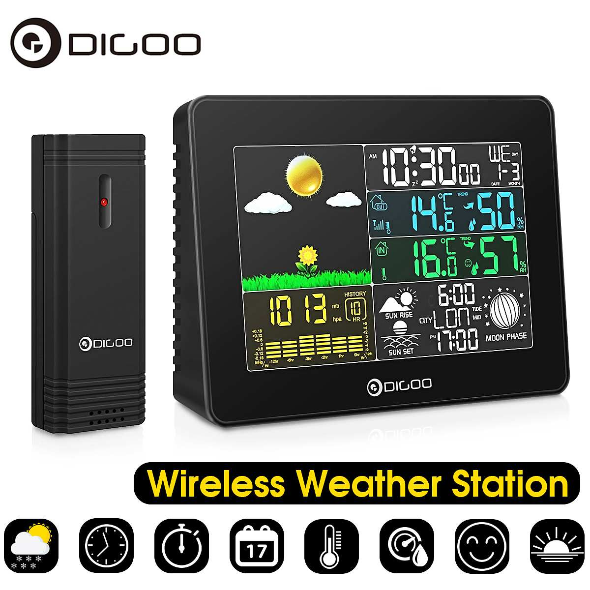 Digoo Wireless Big Screen Colour Digital Outdoor Temperature Humidity Thermometer Hygrometer Weather Forecast Sensor Alarm Clock
