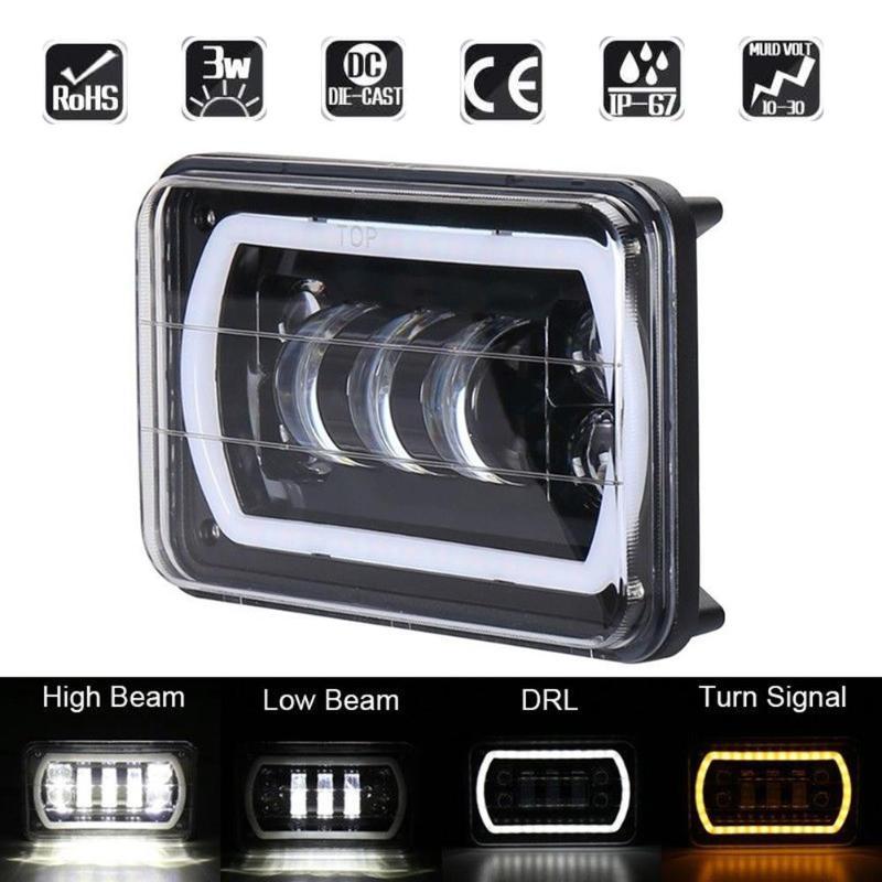 1Pc 6x4in 45W LED Projector Headlight DRL Waterproof 6000K Work Light Lamp for Jeep Wrangler YJ Cherokee XJ Offroad Truck