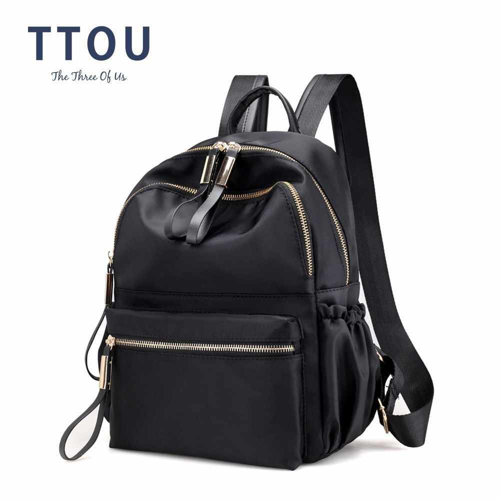 TTOU Women Casual Nylon Backpacks Vintage School Backpack for Teenager Girl  Large Travel Bag Female Laptop bcc11fd56ece6