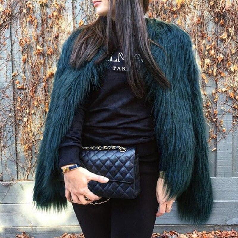 6XL Furry Faux Fur Coat font b Women b font Fluffy Warm Long Sleeve Outerwear Autumn