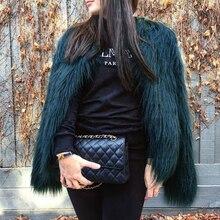 6XL Мех животных ry искусственный мех пальто для женщин Пушистый Теплый Верхняя одежда с длинным рукавом Осень Зима куртка волосатые пальт