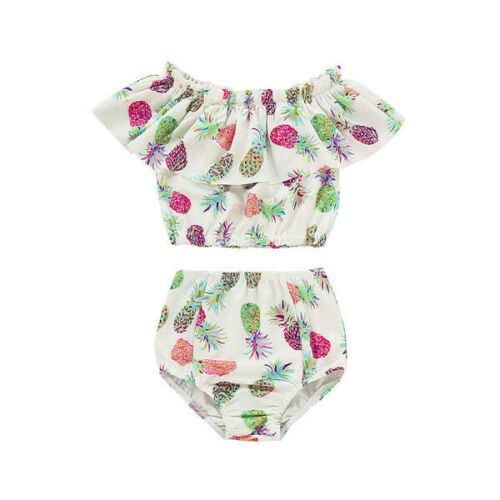 2019 New Pineapple 2pcs Swmsuit Baby Girl Kids Bathing Swimwear Bikini Floral Swimsuit Costume Tankini Beachwear 1-5t To Produce An Effect Toward Clear Vision