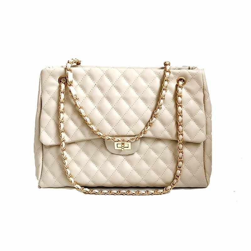 dcbf2132ce63 TTOU Fashion Women Large Handbag Quilted Chain Shoulder Bag Ladies Luxury  PU Leather Handbag Plaid Casual