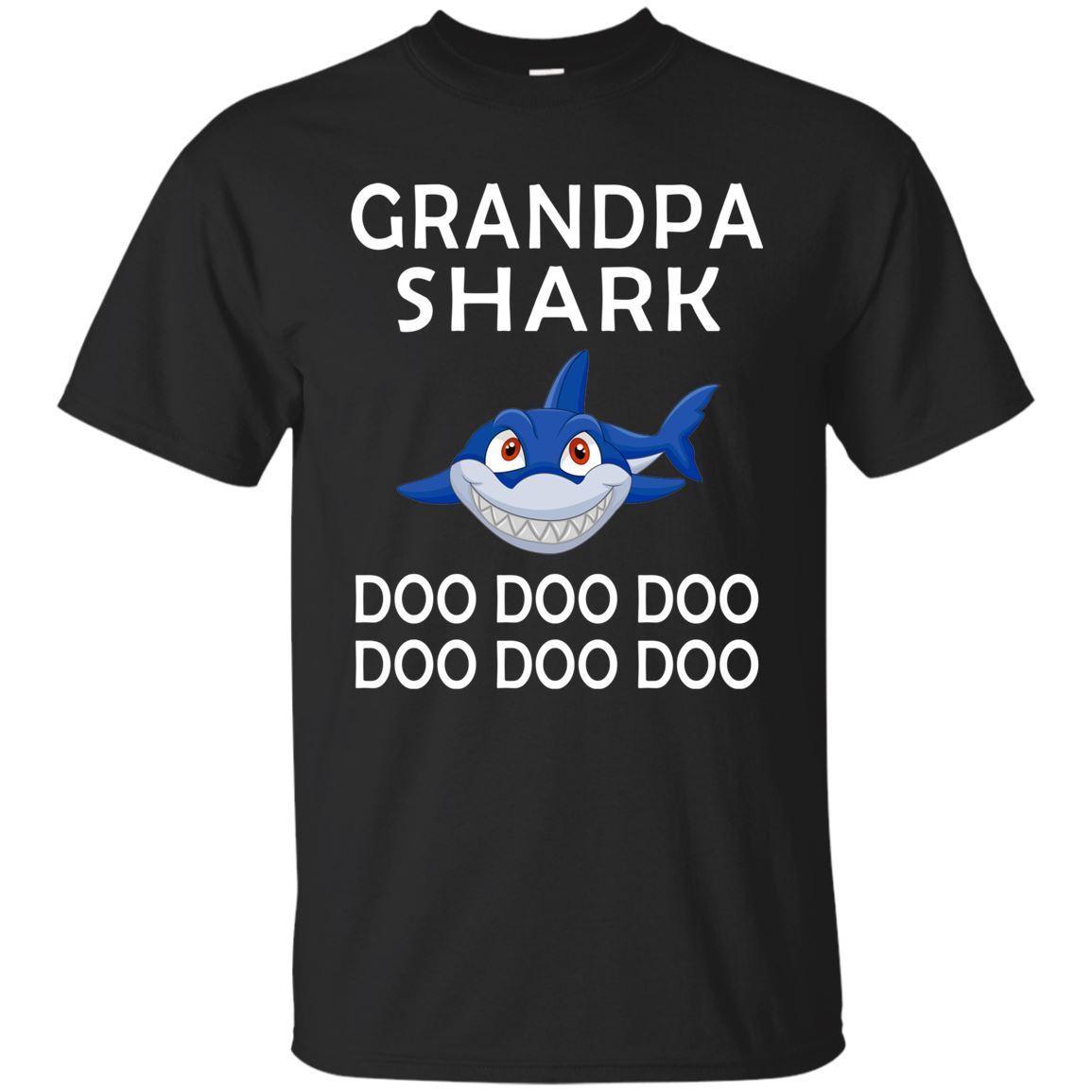 Grandpa Shark T-shirt Doo - Father's Day Shirts Black Navy Tee  Cartoon t shirt