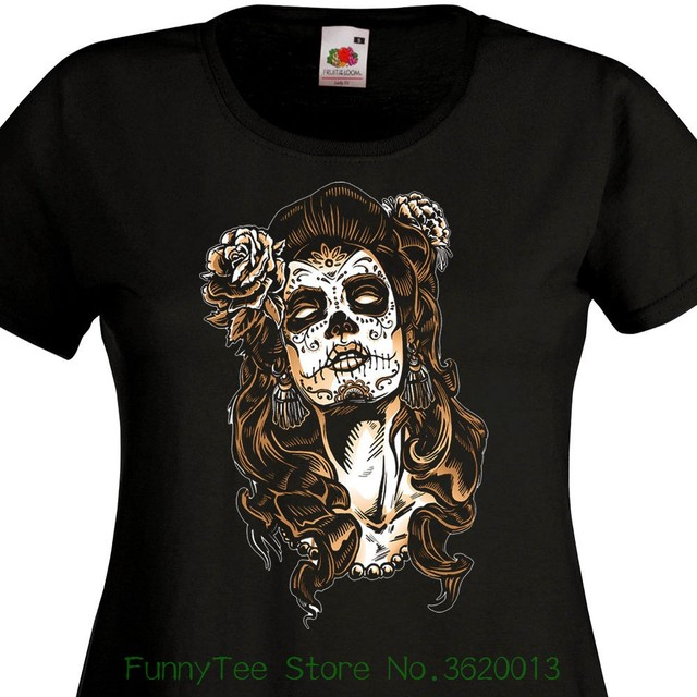 Womens Tee T Shirt Femme Catrina Mexique Tattoo Maquillage Santa