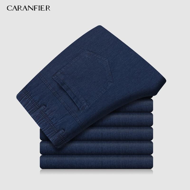 CARANFIER High Quanlity Men Elastic Waist Denim   Jeans   Classic Pants Summer Baggy 2019 New Stretch   Jeans   Men Elasticity   Jeans
