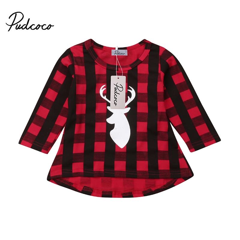 Xmas Kids Baby Girls Long Sleeve Dress Christmas Elk Print